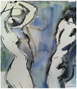Ink wash man and woman Pernilla Persson Jahangiri artwork
